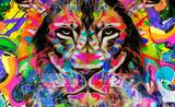 Lew głowa z kreatywnie abstrakcjonistycznym elementem na ciemnym tle