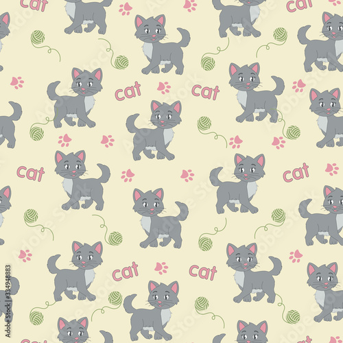Funny cat children's pattern with cat tracks