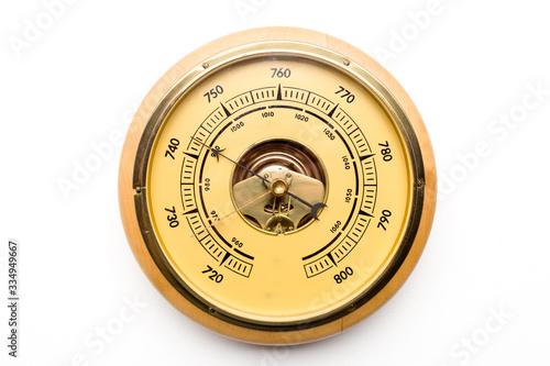 Vintage style barometer isolated on white wall background Wallpaper Mural
