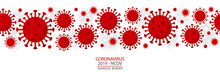 Coronavirus - 2019 - NCoV. Covid 19 Seamless Banner With Coronavirus Bacteria Cell Header Icons. Corona Virus Header Infection Concept Vector Illustration.