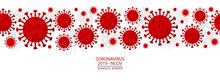 Coronavirus - 2019 - NCoV. Covid 19 Seamless Banner With Coronavirus Bacteria Cell Header Icons. Corona Virus Header Infection Concept Vector Illustration.