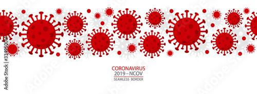 Obraz Coronavirus - 2019 - nCoV. Covid 19 seamless Banner with Coronavirus Bacteria Cell header Icons. Corona virus header infection concept Vector illustration. - fototapety do salonu