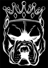 Dog Head With Crown In Black Background