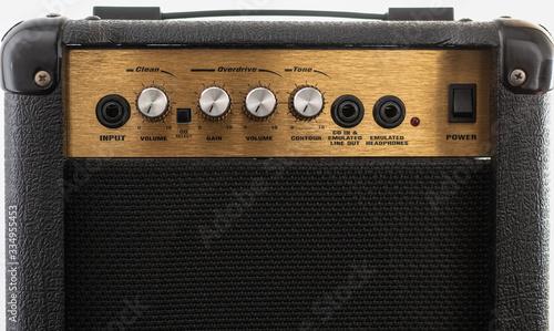 Obraz na plátně Black and golden marshall amplifier with closeup knobs