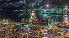 Commercial Port Of Singapore Aerial Night Timelapse.