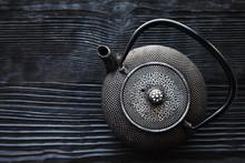 Close Up Black Metall Tea Pot ...