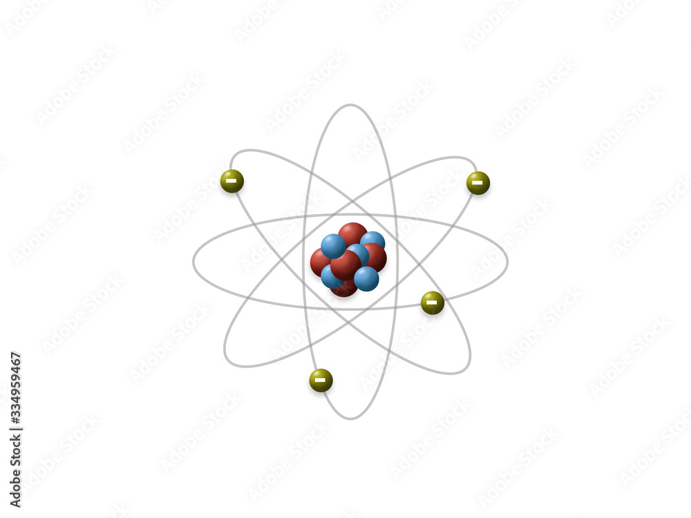 Fototapeta Rutherford's model shows that an atom is mostly empty space, with electrons orbiting a fixed, positively charged nucleus in set, predictable paths.