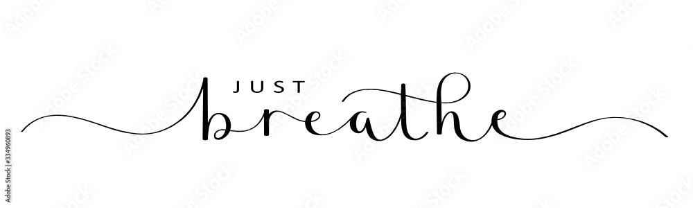 Fototapeta JUST BREATHE vector brush calligraphy banner with swashes