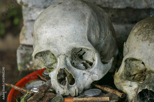 Two human skulls at entrance to Kuburan Terunyan Cemetery in Bali Canvas Print