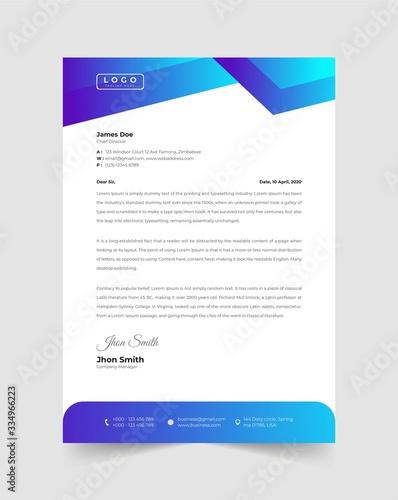 Fototapeta Abstract blue modern letterhead obraz