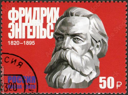 RUSSIA - 2020: shows Friedrich Engels (1820-1895), 200th Birth Anniversary, Phil Canvas Print