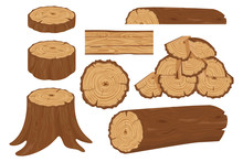Collection Of Tree Logs, Planks, Stump, Twigs And Trunks In Cartoon Flat Style. Wood Trunks. Stacked Lumber Material, Trunk Twig And Firewood Logging Twigs. Tree Stump, Old Wooden Plank Or Timber Log