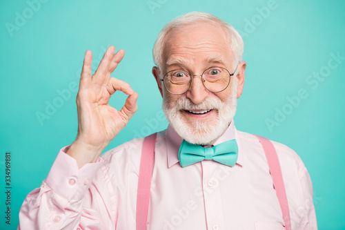 Closeup photo of amazing grey haired grandpa showing okey symbol express agreeme Canvas Print
