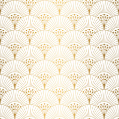 Panel Szklany Podświetlane Art Deco Art Deco pattern. Seamless white and gold background. Wedding decoration