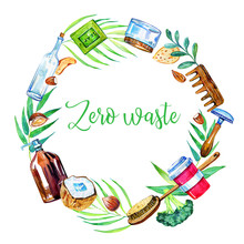 Round Frame With Zero Waste Objects, Food And Leaves. Hand Drawn Watercolor Illustration