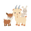 cute deer goat and rabbit cartoon animals isolated icon design