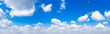 Leinwandbild Motiv Panorama Blue sky and white clouds.  cloud in the blue sky background