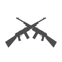 Crossed Assault Rifles - Vector Illustration Black Silhouette.
