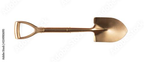 Canvastavla golden shovel isolated on white background