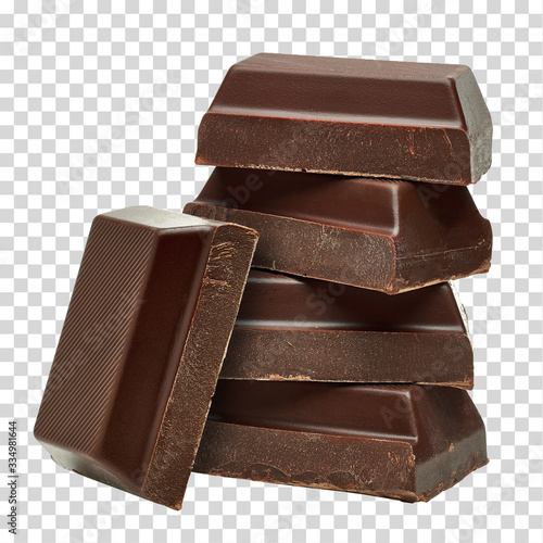 Fotografia, Obraz Broken dark chocolate blocks stack isolated on white background
