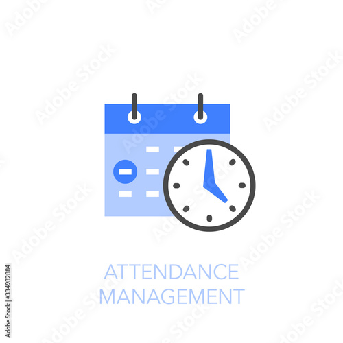 Photo Attendance management symbol with a calendar and a clock