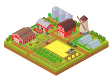 Agricultural Isometric Composition With Farm