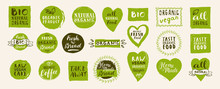 Set Of Take Away Bio, Vegan, Organic, Fresh, Raw, Tasty Natural Food Labels. Hand Drawn Home Delivery Logo Templates