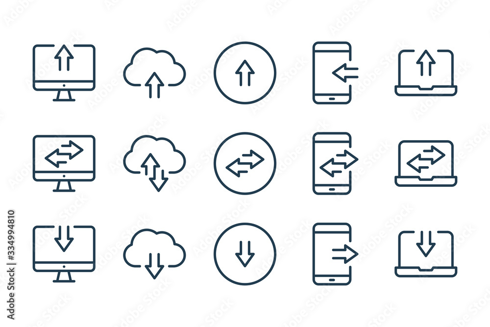 Fototapeta Synchronization and Data transfer related line icons. Data exchange vector linear icon set.