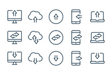 Synchronization And Data Transfer Related Line Icons. Data Exchange Vector Linear Icon Set.