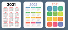 Calendar 2021 Set. Vector Cale...