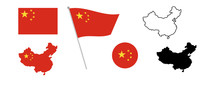 National China Flag. Map Of Ch...