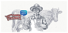 A Happy Farmer With A Glass Of...