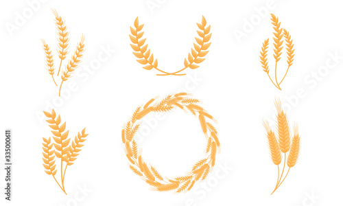 Stylized Wheat Head or Spikes Isolated on White Background Vector Set Canvas-taulu