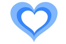 Blue Heart Isolated On White Background