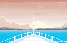 Sunset Sunrise Sea Ocean Landscape View On Cruise Ship Deck Illustration
