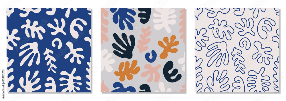 Fototapeta Trendy set of seamless pattern with abstract organic cut out Matisse inspired shapes in neutral colors