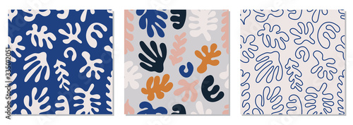 Fototapeta Trendy set of seamless pattern with abstract organic cut out Matisse inspired sh