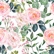 Beautiful blush pink and cream colored flowers and greenery seamless pattern. Watercolor hand drawn floral ornament on white background. Ranunculus, rose flower, sage green eucalyptus and leaf