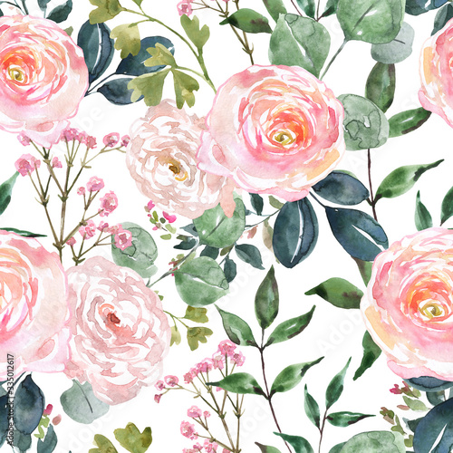 Tapeta różowa  beautiful-blush-pink-and-cream-colored-flowers-and-greenery-seamless-pattern-watercolor-hand-drawn-floral-ornament-on-white-background-ranunculus-rose-flower-sage-green-eucalyptus-and-leaf