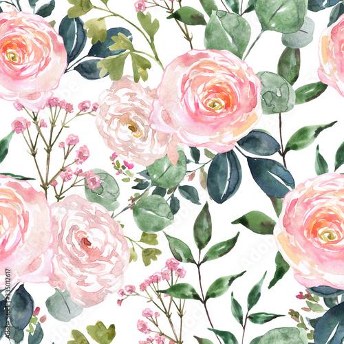 Tapeta różowa  beautiful-blush-pink-and-cream-colored-flowers-and-greenery-seamless-pattern-watercolor-hand