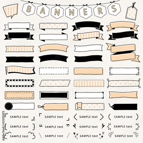 手描き, バナー, フレーム, リボン, 記号, かっこ, イラスト, 手書き, 素材, セット