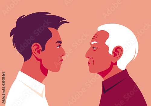 Portrait of a two profiles young guy and old man. Side view. Age-related changes in the Asian face. Vector illustration in flat style