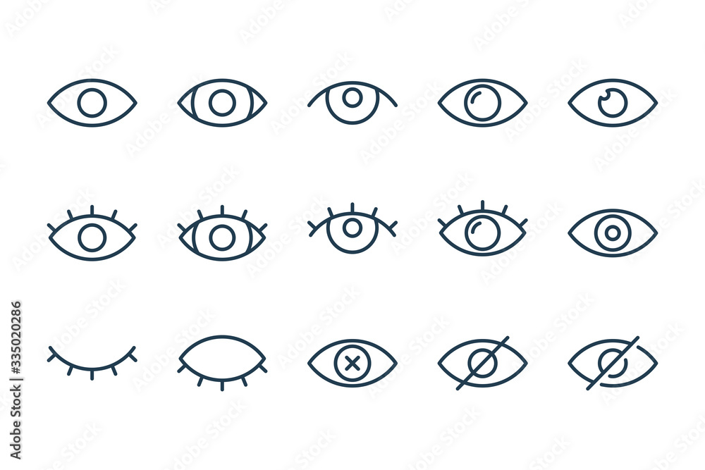 Fototapeta Eyes related line icons. View and eye vector linear icon set.