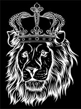 Vector Black And White King Li...
