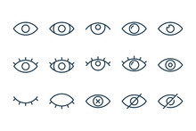 Eyes Related Line Icons. View And Eye Vector Linear Icon Set.