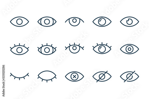 Eyes related line icons. View and eye vector linear icon set. Canvas Print