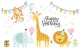 Fototapeta Fototapety na ścianę do pokoju dziecięcego - Birthday vector illustrations. Set of cute cartoon jungle birthday animals illustration for greeting, invitation kids birthday card design
