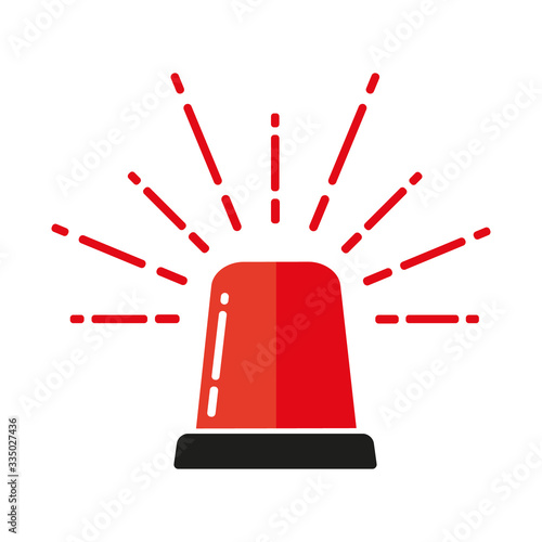 Vector illustration of red flasher lights icon.Signal light for ambulance, police, fire brigade and other rescue teams.Flat icon, logo, graphic element. Fototapete