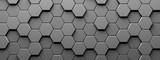 Fototapeta Tulipany - Trojwymiarowe tło z kostek sześciokątnych w szarym kolorze - 3d rendering