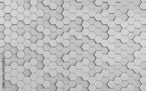 Obraz Trojwymiarowe tło z kostek sześciokątnych w szarym kolorze - 3d rendering - fototapety do salonu